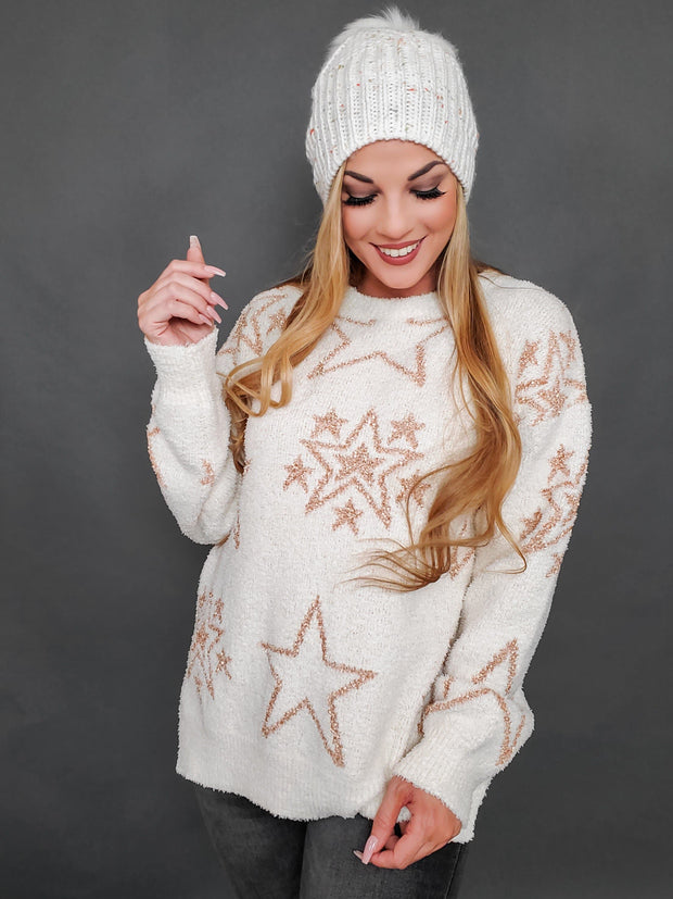 Soft Star Print Oversized Sweater