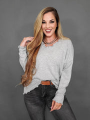 Long Sleeve Brushed Knit Ruffled Edge V-Neck Top
