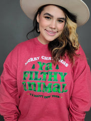 Merry Christmas Ya Filthy Animal Graphic Sweater (S-3XL)