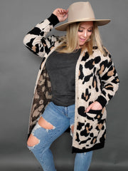 Leopard Print Cardigan with Long Sleeves and Front Pockets  (1XL-3XL)