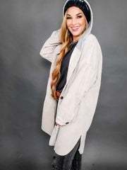 Hooded Corduroy Jacket with Drawstring