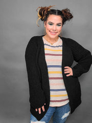 Pol - Medium Length Open Front Cable Knit Cardigan (S-3XL)
