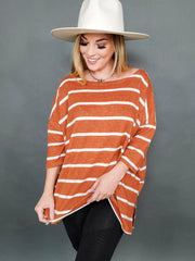 Brushed Stripe Hacci Top with Wide Neck