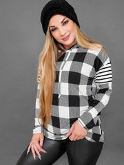 Long Sleeve Plaid Print Hooded Top (S-3XL)