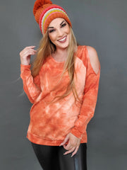 Tie Dye French Terry Cold Shoulder Top with Side Slits
