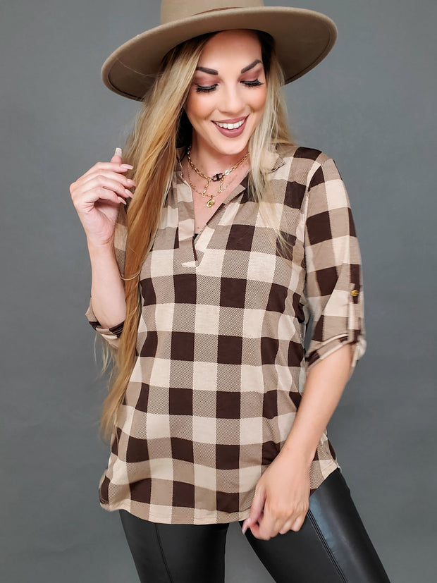 Mandarin Collar Plaid Top (S-3XL)
