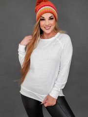 Raw Edge Burn Out Long Sleeve Top