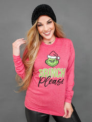 Grinch Please Long Sleeve Graphic Top (S-3XL)