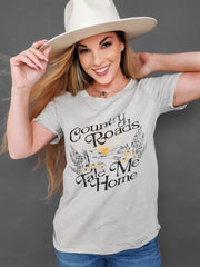 Country Roads Take Me Home Graphic Print Top