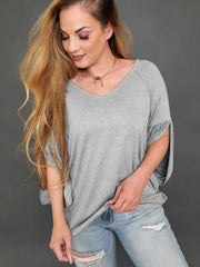 Slitted Raglan Sleeves Solid Knit Top (S-3XL)