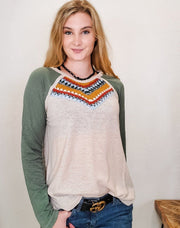 Easel - Color Mix Cotton Slub Knit Patch Front Detailing Top