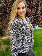 Leopard Bubble Crepe Zip-Up Jacket (S-2XL)