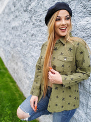 Long Sleeve Star Detailed Button Up Top