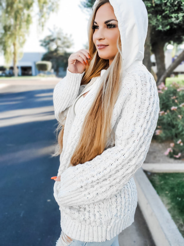 Pol - Cable Knit Zipper Sweater