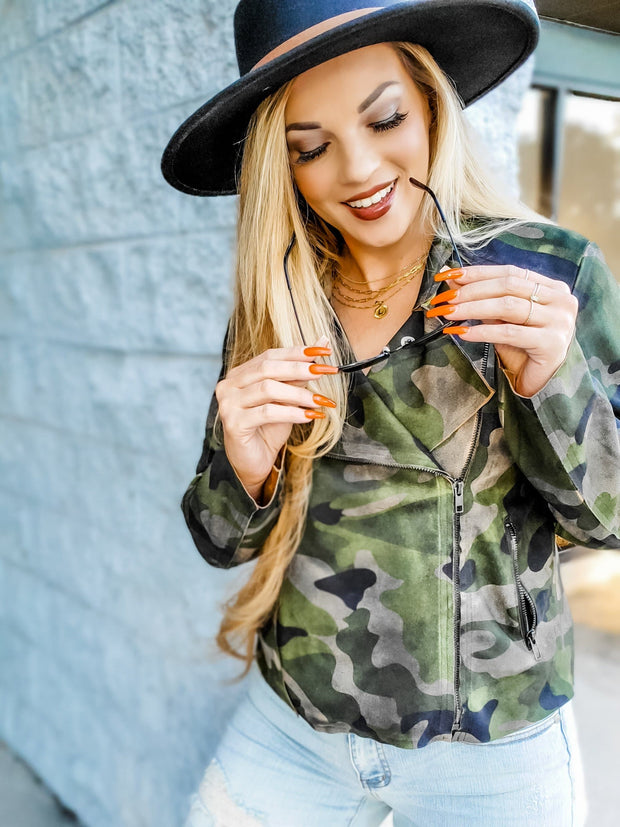 Washed Camo Suede Rider Jacket (S-3XL)