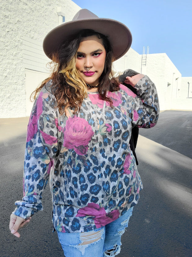 Long Sleeve Leopard/Floral Top (S-3XL)