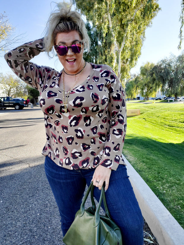 Long Sleeve Animal Print Top (S-3XL)