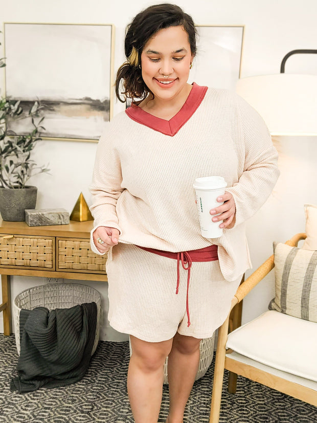Solid Waffle Knit Two Piece Set (S-3XL)