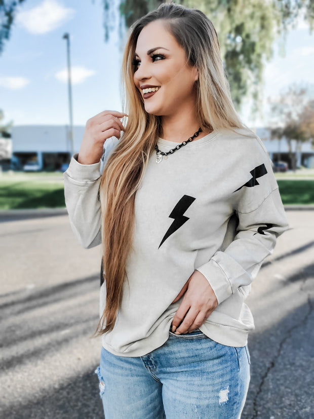 Easel - Stuck By Lightning Bolt  Long Sleeve Pullover Top