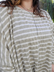 Easel - Oversized Stripe Tee Lightweight Boxy Tunic Top (S-3XL)