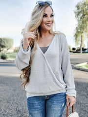Crossover V Neck Long Sleeve Waffle Knit Top (S-3XL)