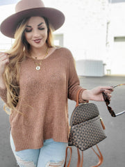 3/4 Length Sleeve Crew Neck Knit Sweater