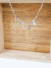 LOVE Letter with Heart Charm Necklace - 18""