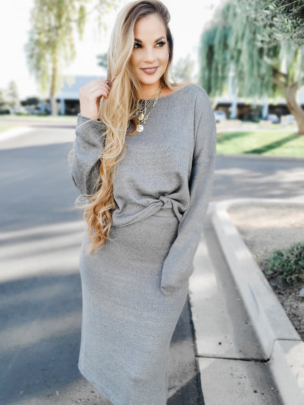 Boatneck Top and Side Slit Midi Skirt Sweater Set
