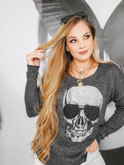 Mineral Skull Wash Print Stone Design Sweater