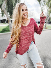 Tie Dye Texture V-Neck Long Sleeve Top
