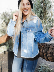 Long Sleeve Denim Jean Jacket (S-3XL)