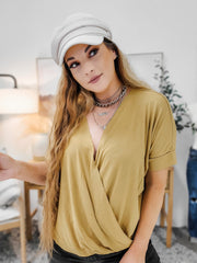 Doorbuster - Crepe Layered-Look Draped Front Top (S-3XL)