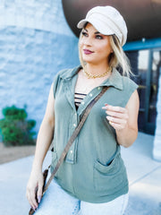 Pol - Sleeveless Button Down Top with Pockets