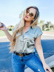 Satin Dolce Button Down Short Sleeve Top