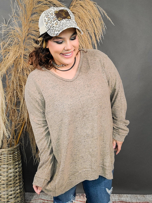 Solid Knit Asymmetric Long Sleeve Top (1XL-3XL)