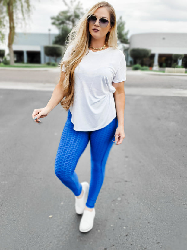 Full Length Bubble Honeycomb Leggings with Pocket