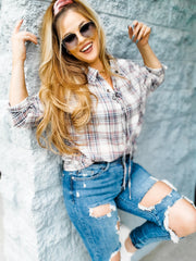 Lace Up Front and Back Plaid Tunic Top