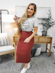 Ribbed Knit Sweater Midi Skirt