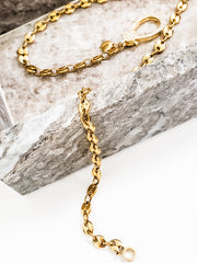 "Oak & Ivy - Coffee Bean Chains with Pave Clasp (16"" 18"" 20"")"