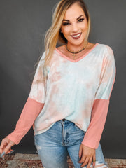 Thermal Dolman Tie Dye Contrast Long Sleeve Top (S-3XL)
