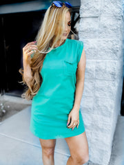 Cuffed tank top dress With Pocket Detail