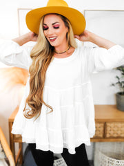 Solid Scoop Neck Tiered Top Featuring Ruffle Detail (S-2XL)