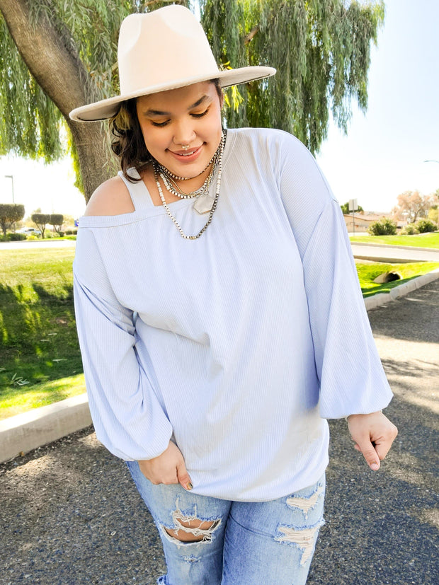 Solid Ribbed Long Sleeve Top Featuring Balloon Sleeves (S-2XL)
