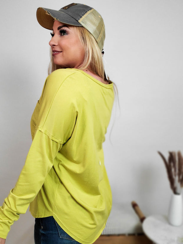 Long Sleeve Basic Vintage Scoop Neck Top (S-3XL)