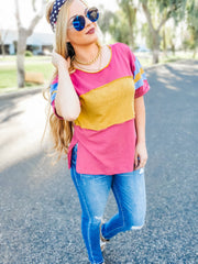 Color-Blocked with Contrast Stripes at Arms in an Oversized Top
