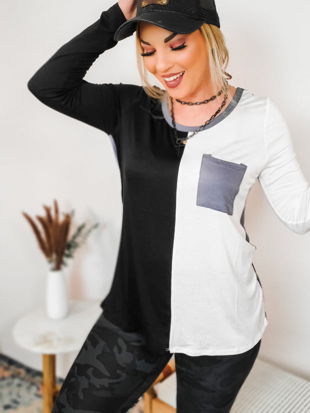 Color Block Knit Long Sleeve Top with Front Patch Pocket