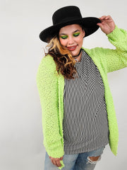 Doorbuster - Puff Sleeve Popcorn Cardigan with Pockets (S-3XL)