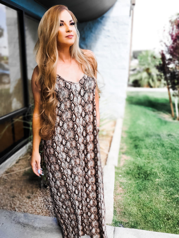 Doorbuster - Snakeskin Print Cami Maxi Dress with Pockets