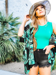 Tropical Palm Leaf Kimono Cardigan (S-3XL)