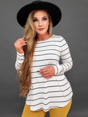 Long Sleeve Stripe Print Knit Top With Buttons